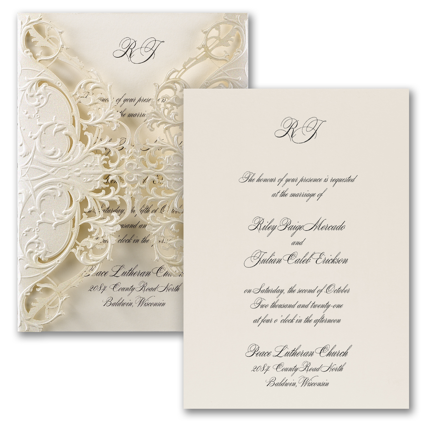 Custom printed wedding invitations