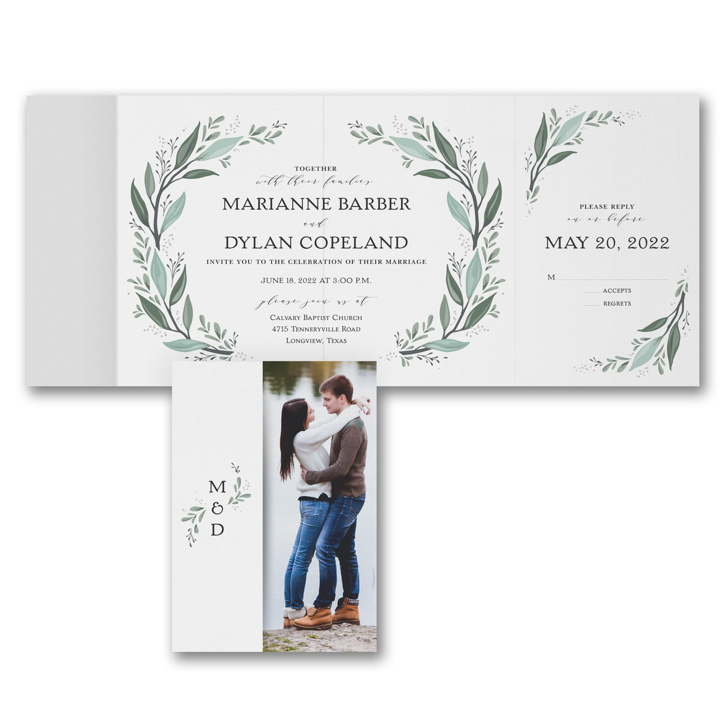 Custom printed wedding invitations, Save the Dates, and RSVP