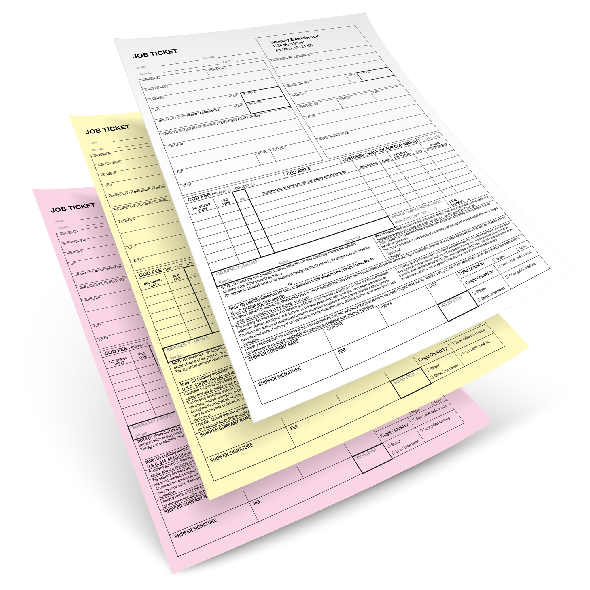 White, yellow, pink carbonless business forms