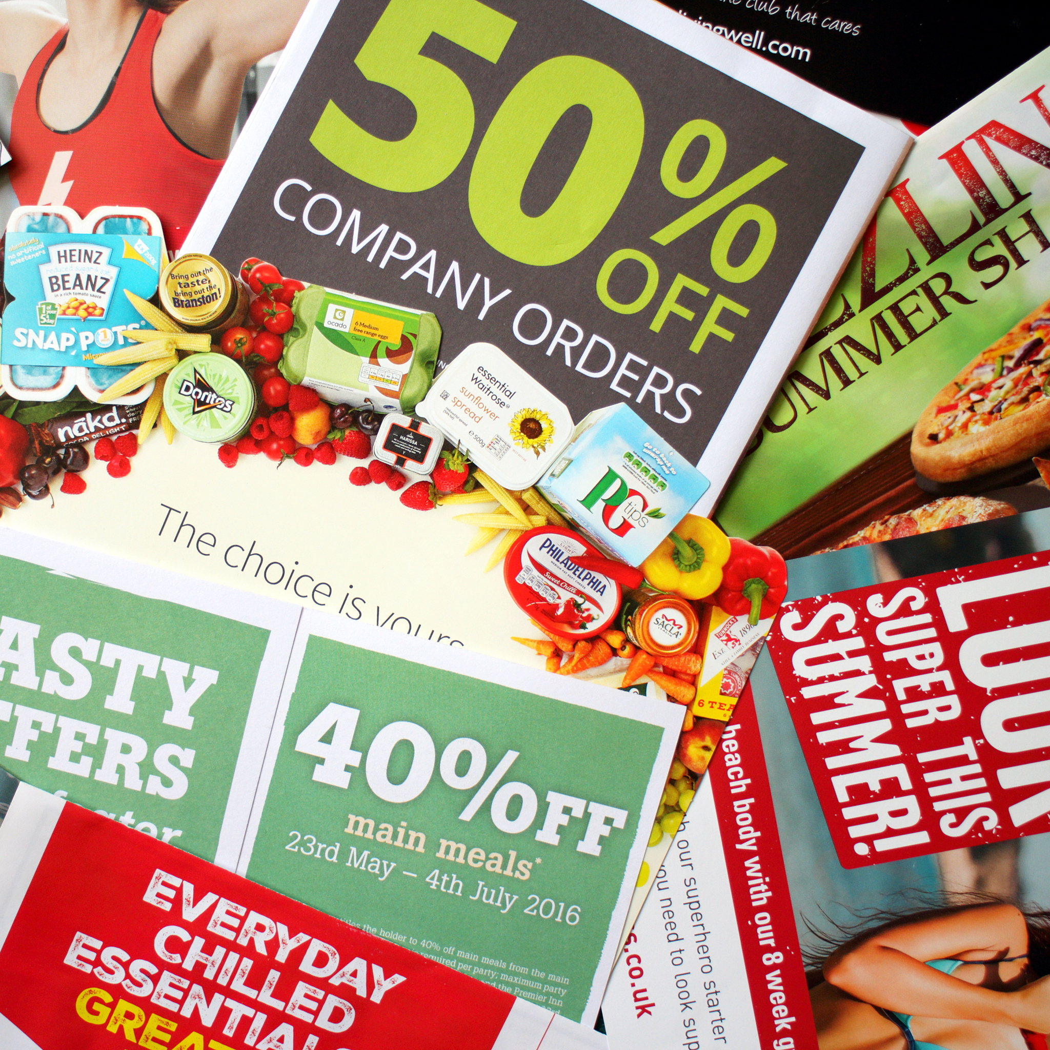 Sample of junk mail items delivered to a private residence in England as advertising for local retail businesses and services