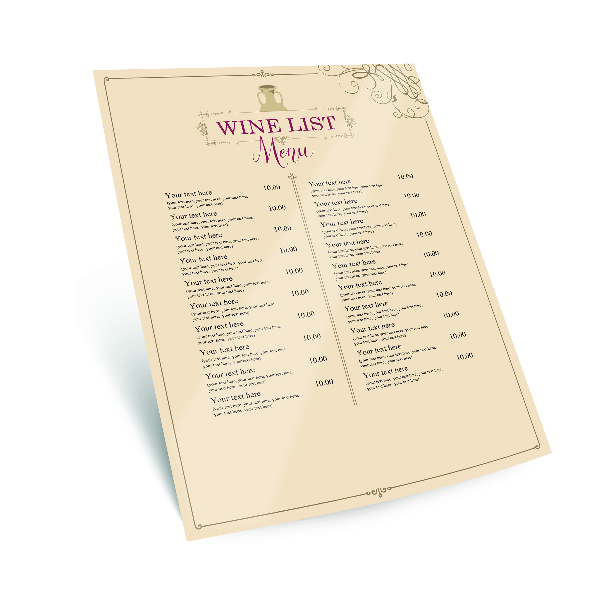 waterproof menu printing