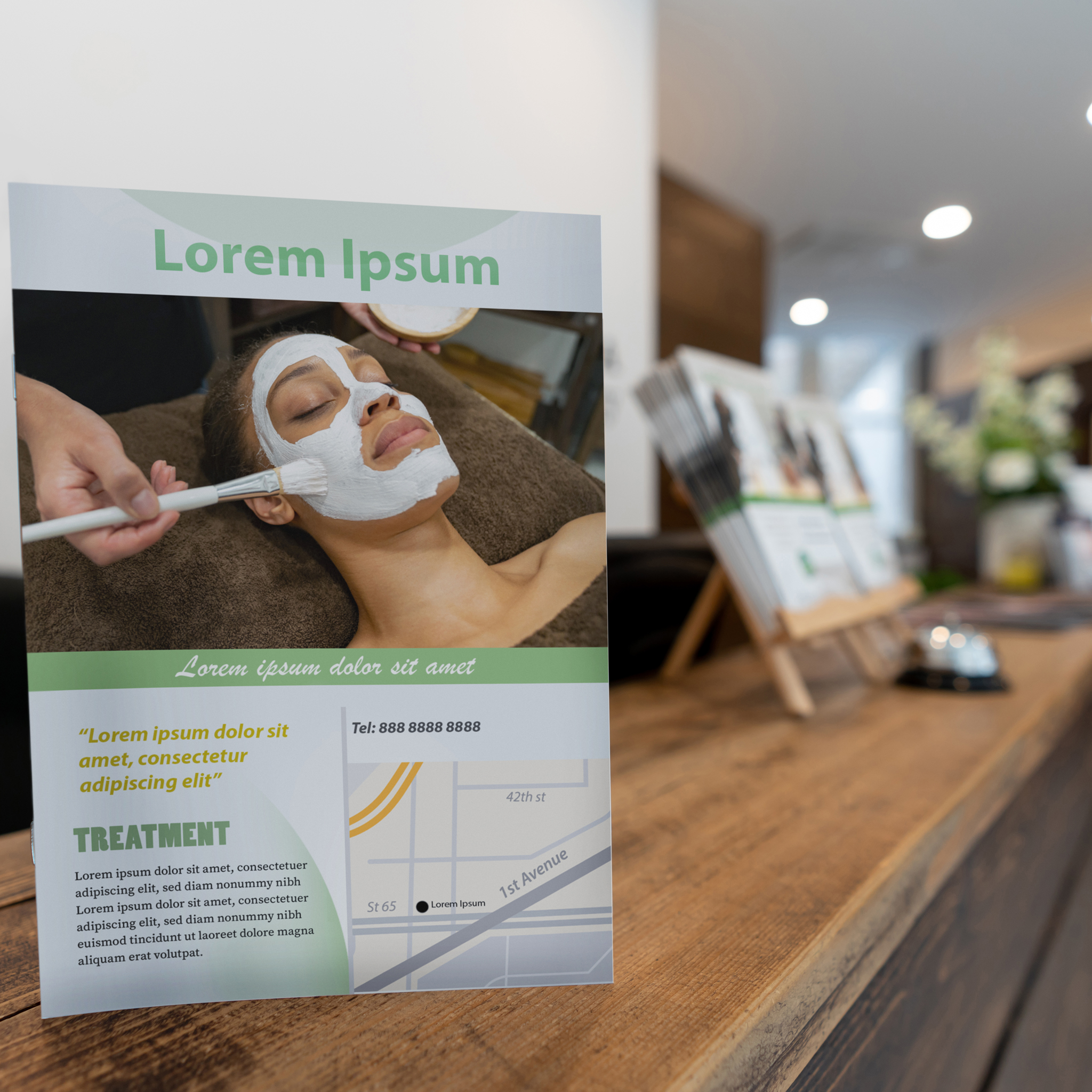 Close-up on a front desk at a spa showing a brochure offering beauty treatments