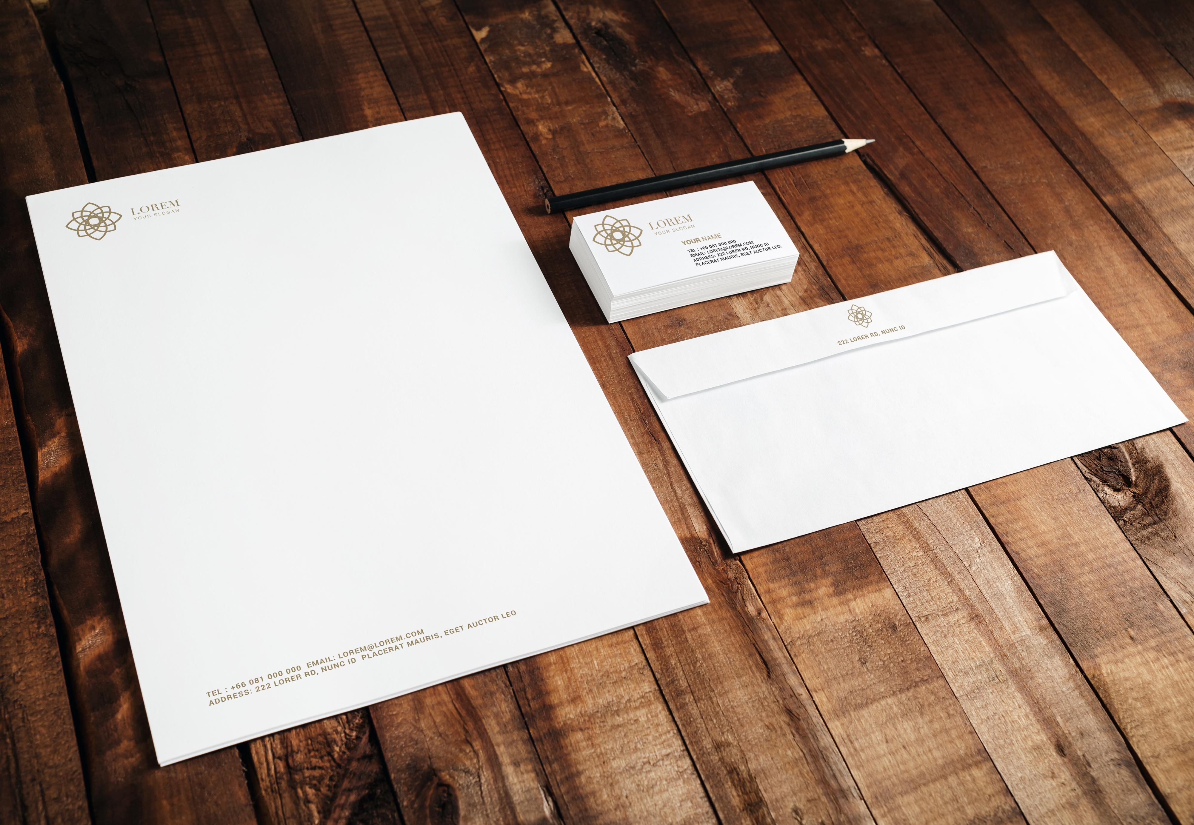 Custom printed corporate stationery package